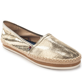 TOMMY HILFIGER FWOFWO0797/91385DY1Z LIGHT GOLD METALIC NEON LEATHER ESPADRYLE DAMSKIE ZŁOTE